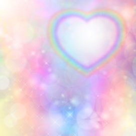 rainbow heart fuzzy background